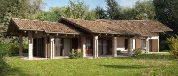 Abitare casa in legno con portico